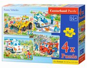 4x1 Puzzle Funny Vehicles,