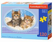 Puzzle Kittens Curling up on a  Blanket 120,