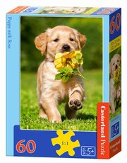 Puzzle 60 Puppy with Rose,